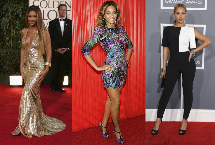 Stylizacje gwiazdy muzyki R&B Beyoncé Knowles na czerwonym dywanie podczas rozdania nagród