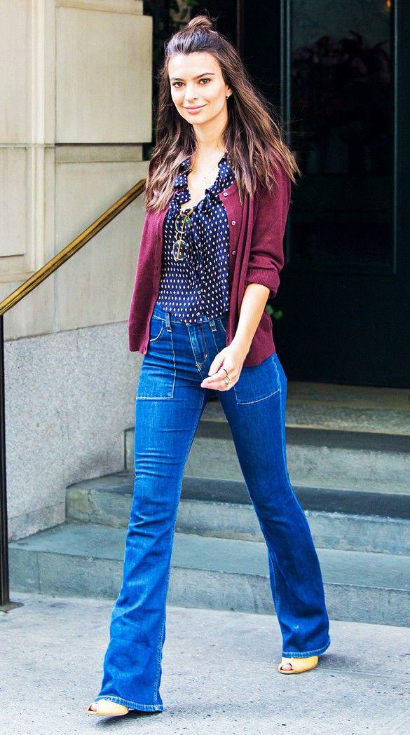 Jeansy plus obcasy - Emily Ratajkowski w lużnym looku