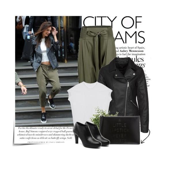 Casualowy look Emily Ratajkowski - spodnie khaki i ramoneska