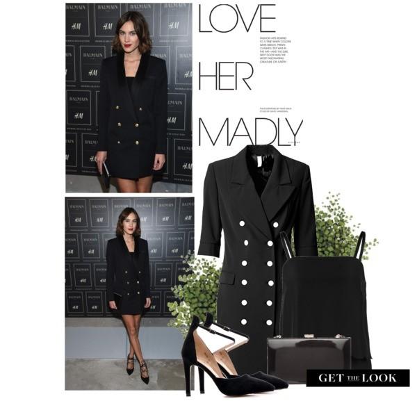 Długa czarna marynarka jako sukienka ze złotymi guzikami w marynarskim stylu