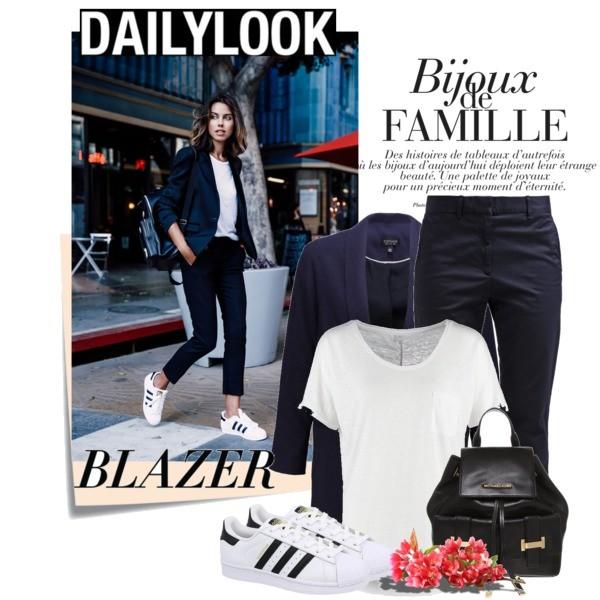Sportowy look - granatowa marynarka damska plus buty Adidas Superstar