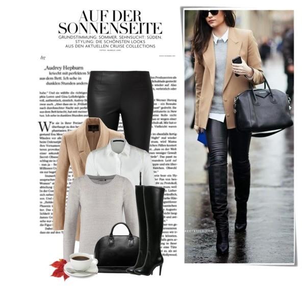 Elegancki outfit na co dzień - neutralne kolory plus marynarka i sweter