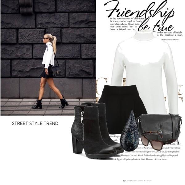 Klasyczny look - czarna rozkloszowana midi, biała koszula i botki na obcsie