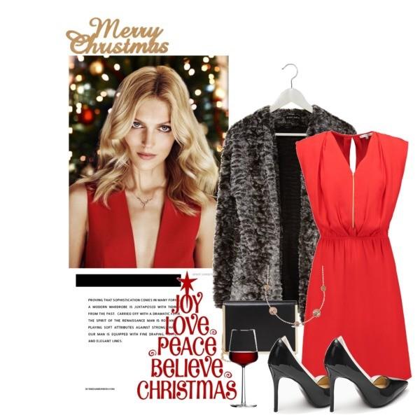 Modna czerwona stylizacja świąteczna