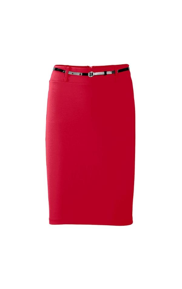 Czerwona ołówkowa spódnica z czarnym paskiem