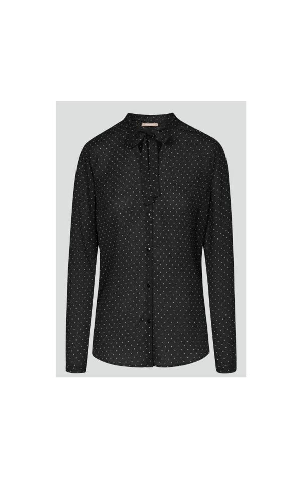 Czarna koszula z krawatką w białe kropki