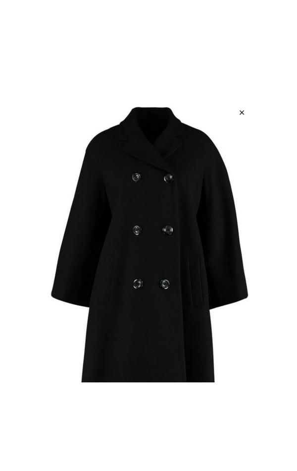 Czarny krótki płaszcz dwurzędowy poszerzany na dole
