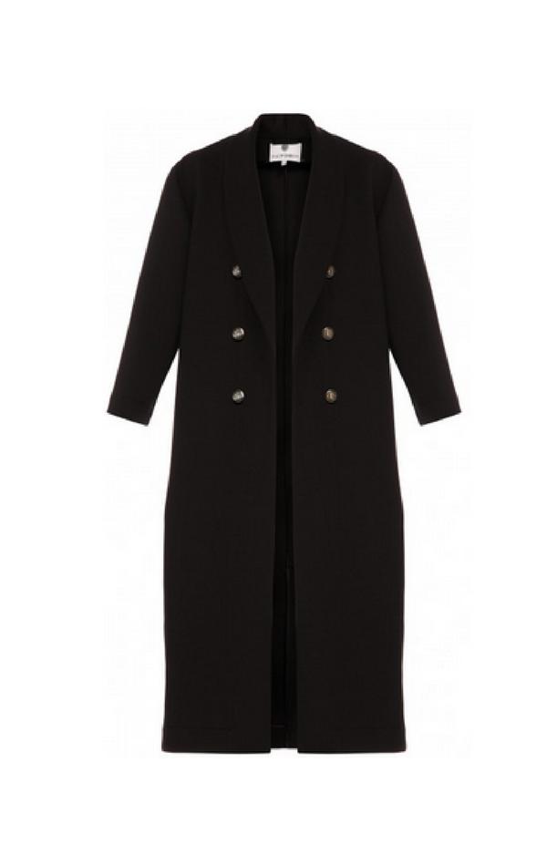 Czarny długi dwurzędowy płaszcz