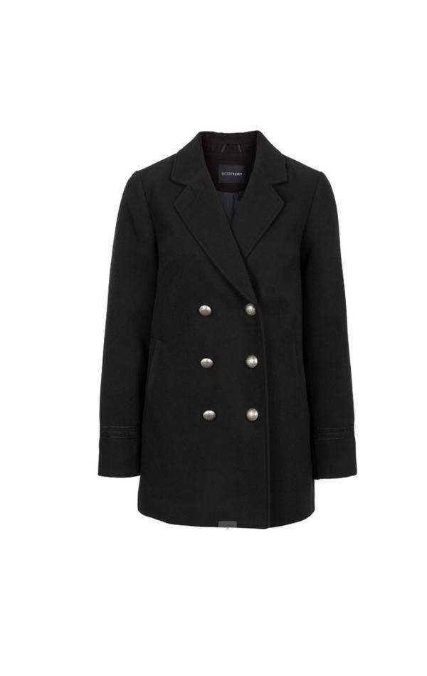 Czarny prosty dwurzędowy płaszcz