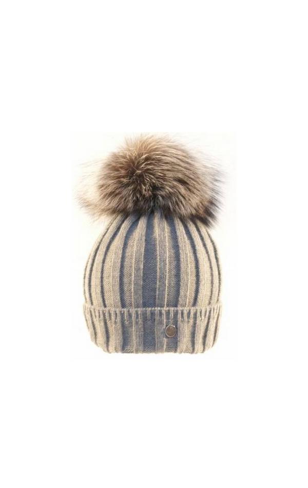Beżowa czapka z futrzanym pomponem