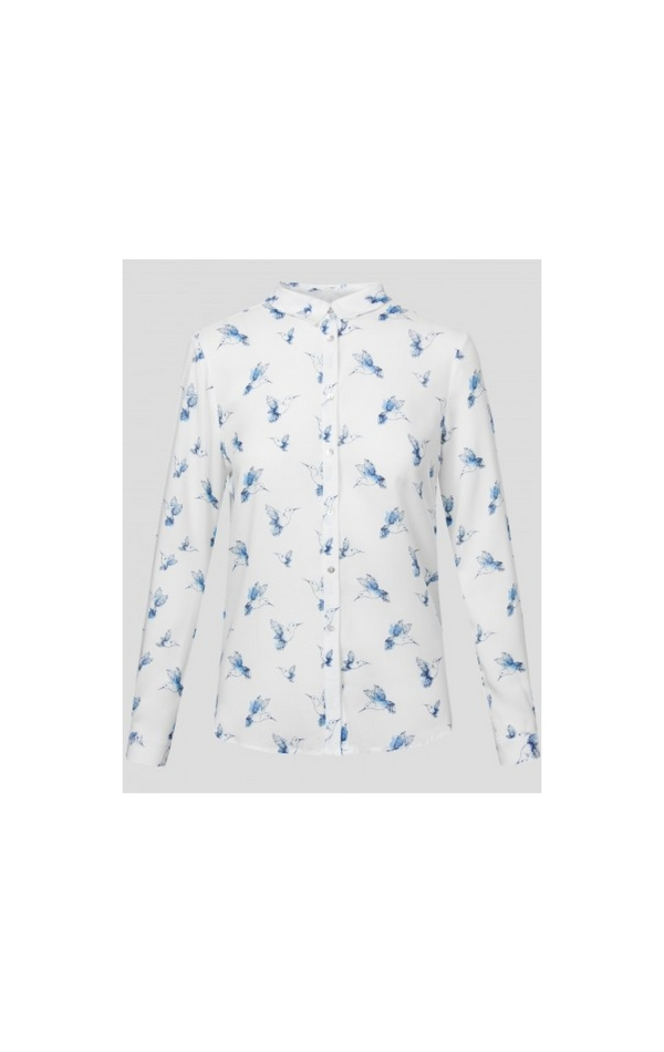 Biała, elegancka koszula ze wzorem