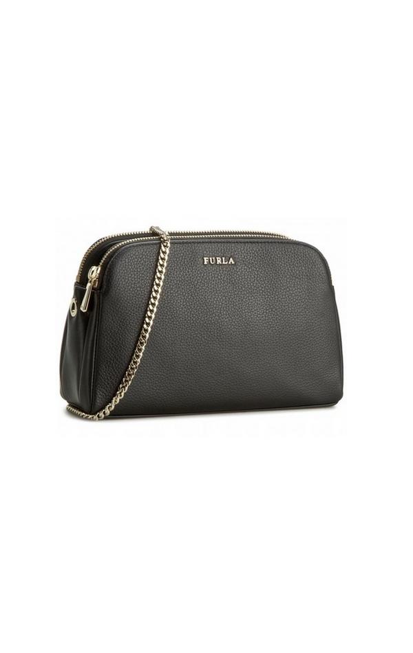 Czarna torebka na złotym łańcuszku Furla