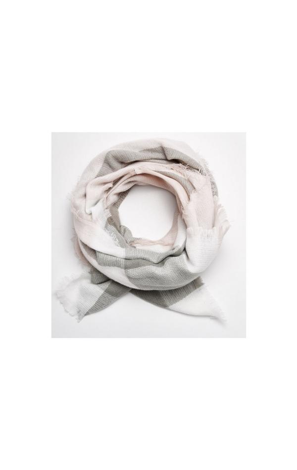Szal w odcieniach szarości z dodatkiem pudrowego różu
