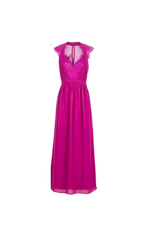 Długa fuksjowa suknia z dekoltem w kształcie litery V
