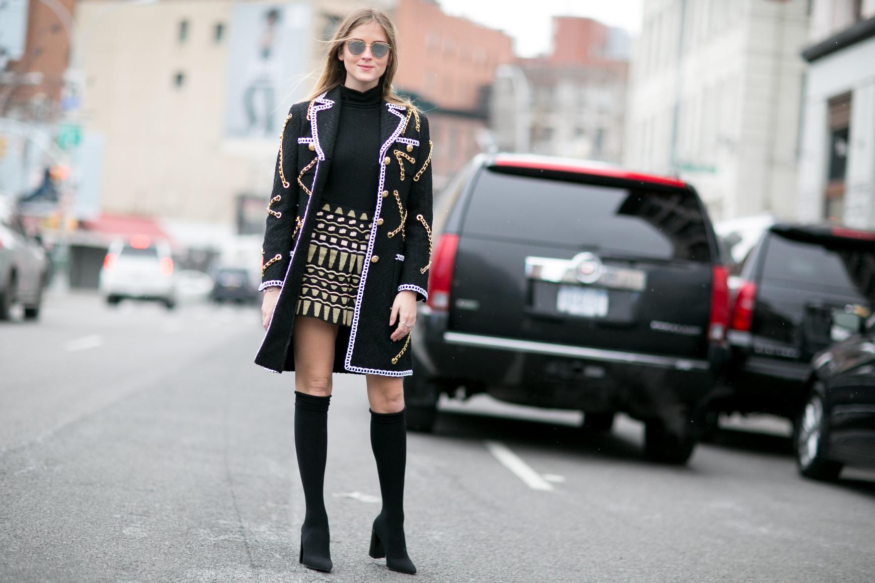 Blogerka Valentina Ferragni podczas Tygodnia Mody w Nowym Jorku