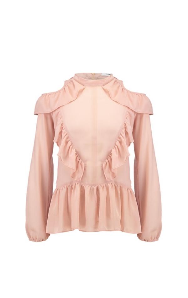Różowa bluzka z falbanami