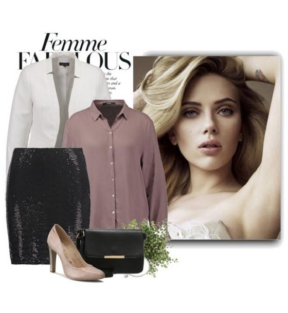 Elegancka stylizacja z czarną, cekinową spódnicą