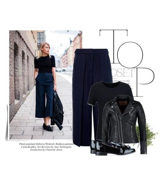 Stylizacja z eleganckimi spodniami culotte i ramoneską