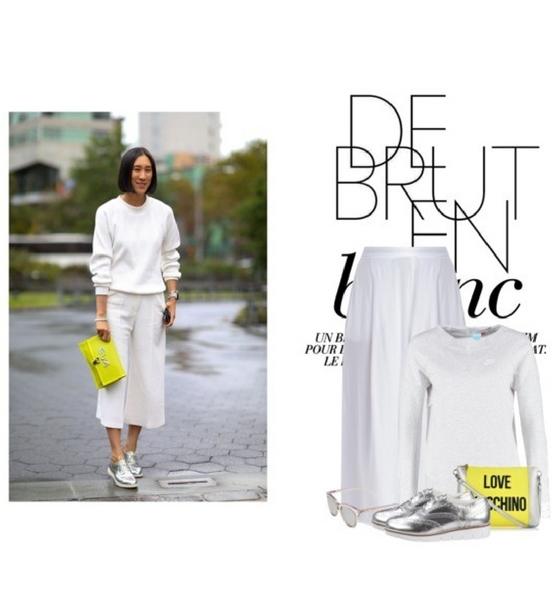 Biały total look ze spodniami culotte i żółtą kopertówką