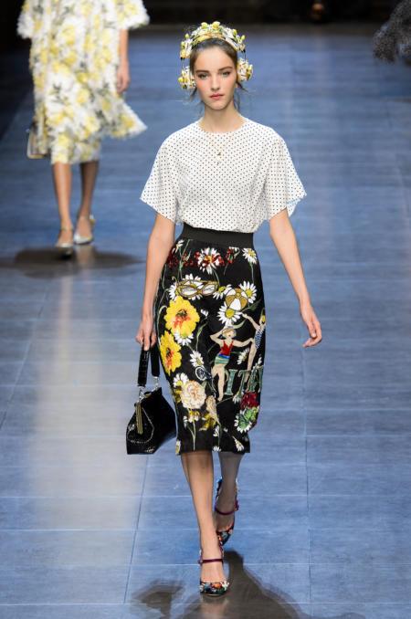 Spódnica midi w kwiaty Dolce&Gabbana