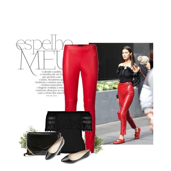 Stylizacja w stylu Belli Hadid - czerwone spodnie