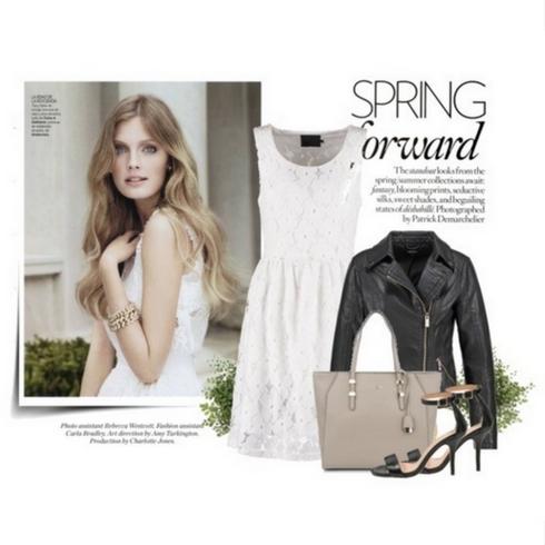 Biała sukienka i ramoneska