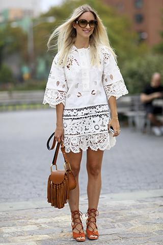 Modna stylizacja z białą koronkową sukienką