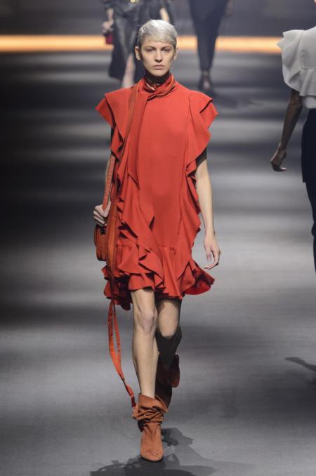 Czerwona sukienka z falbankami Lanvin