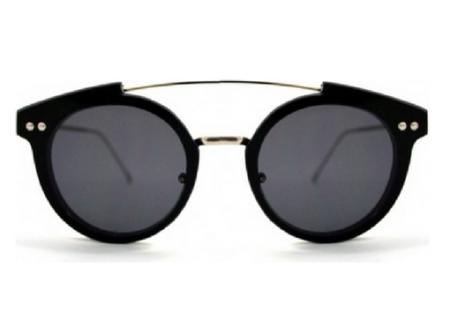 Czarne okulary ze złotymi elementami