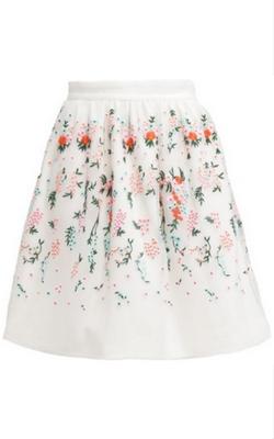 Biała trapezowa spódnica z motywem kwiatów