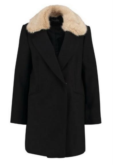 Czarny płaszcz z kołnierzem