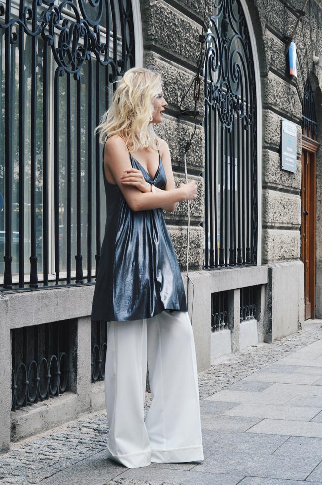 eleganckie spodnie palazzo w stylizacji