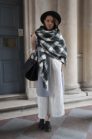 warstwowy ubiór, ubiór na cebulkę, krata, szal, kapelusz, trendy jesienne, trendy zimowe, stylizacje na jesień, stylizacje na zimę