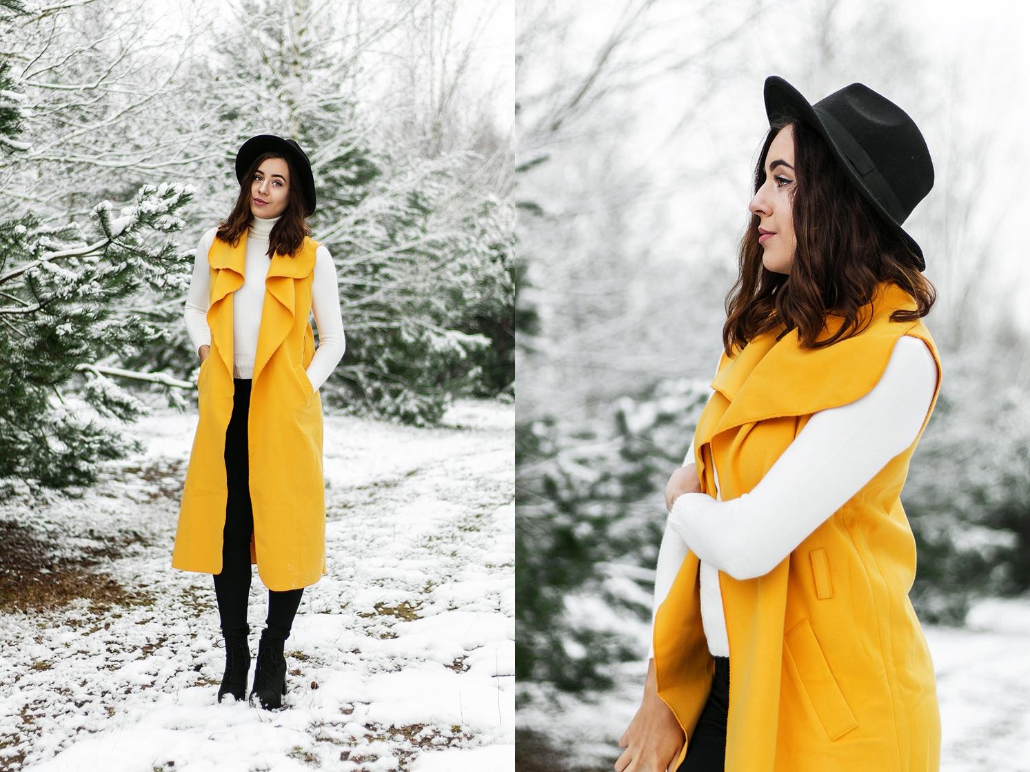 Zółta  kamizelka maxi w zimowym looku