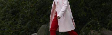 czerwone koktajlowe spodnie