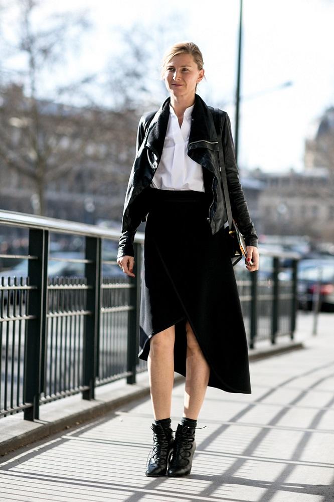 Skórzana kurtka pasuje do eleganckich stylizacji