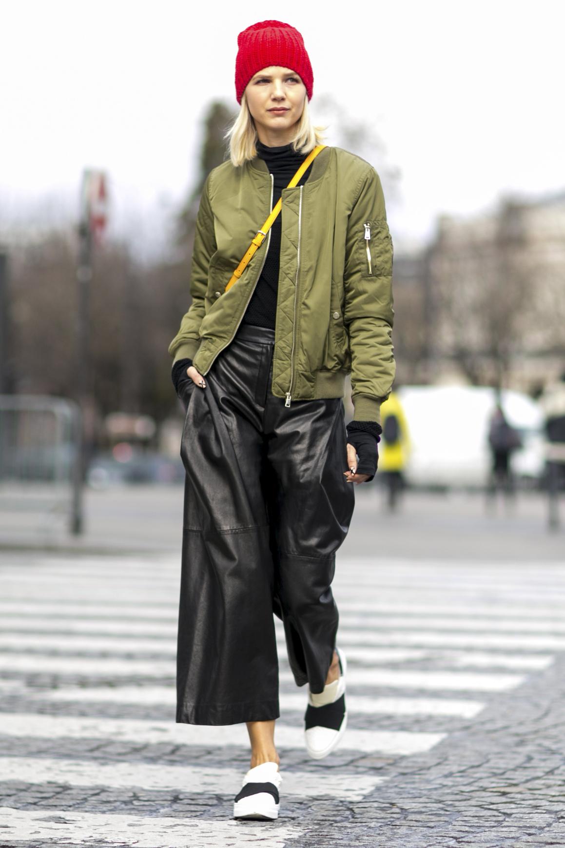 Skórzane spodnie culottes