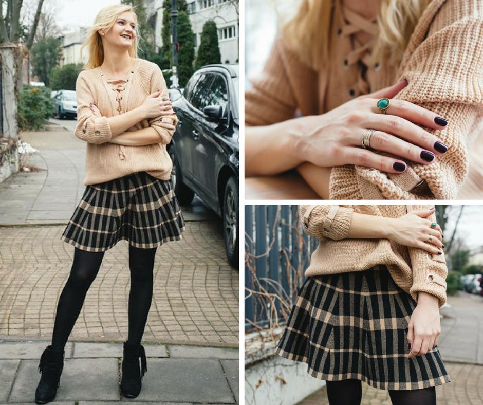 Beżowy look - spódnica w kratę i sznurowany sweter