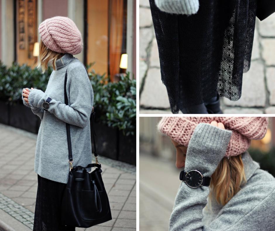 Szary sweter w nietypowym towarzystwie koronkowej spódnicy