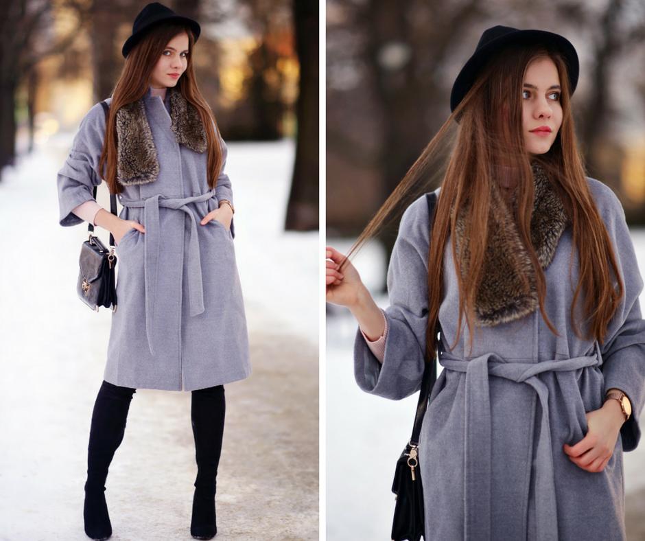 Sposób na zimową nudę- szlafrokowy płaszcz i kozaki za kolano