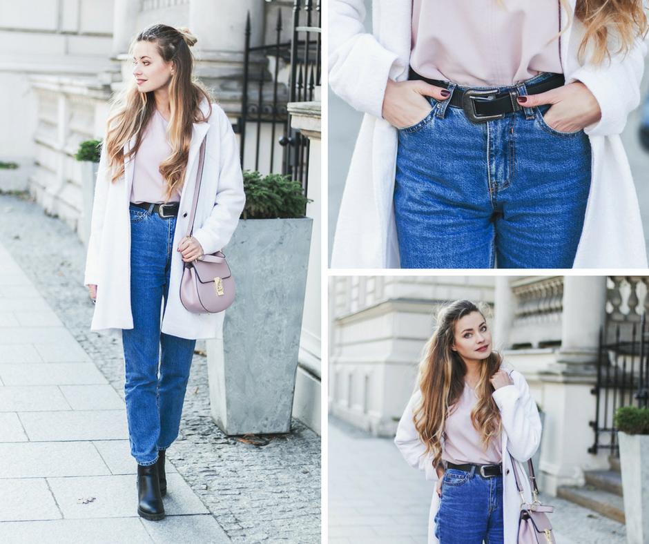 Sposób na zimowy look - biały płaszcz i mom jeans