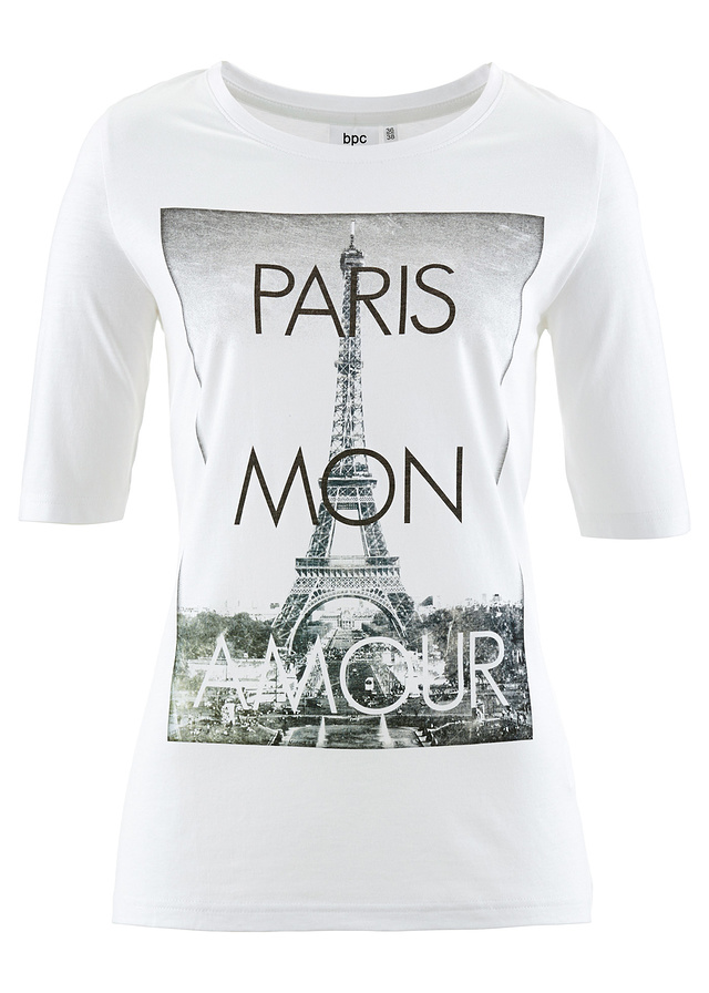 T-shirt z grafiką i napisem