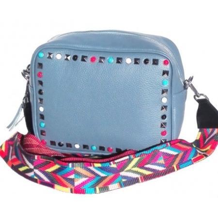 Poręczna torebka z kolorowym paskiem