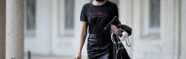 Czarne ubrania można nosić w stylu rockowym