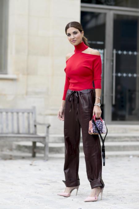 Brązowe skórzane spodnie