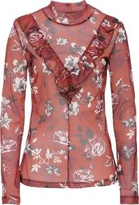 Bluzka w kwiaty ozdobiona falbanką
