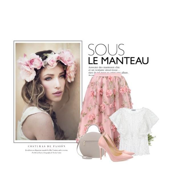 spódnica w print kwiatowy plus biały T-shirt
