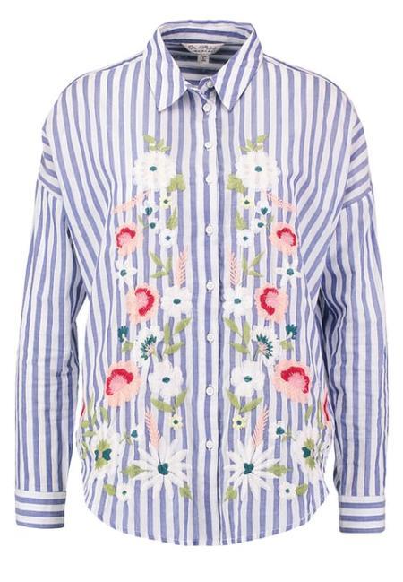 Koszula w pasy z dodatkiem motywu kwiatowego