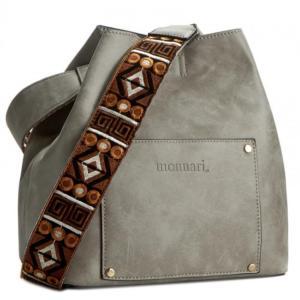 szara torebka worek z ozdobnym paskiem