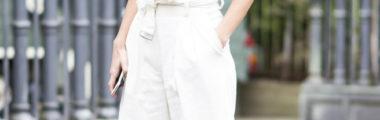 białe szerokie spodnie